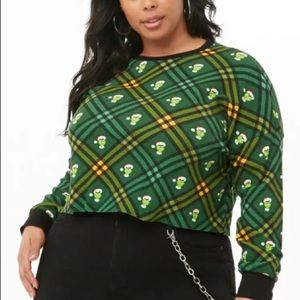 Forever 21 Plus Thermal Grinch Cropped Blouse
